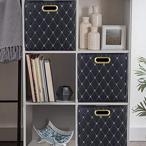 LCSD Cestas de lavandería creativas plegables con mango de metal de cuero, caja de almacenamiento de juguetes, caja de clasificación de oficina (28 x 28 x 28 cm)
