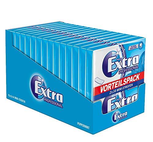 Extra Kaugummi | Professional Peppermint | Zuckerfrei | 15 Packungen (15 x 2 x 14 Mini-Streifen)
