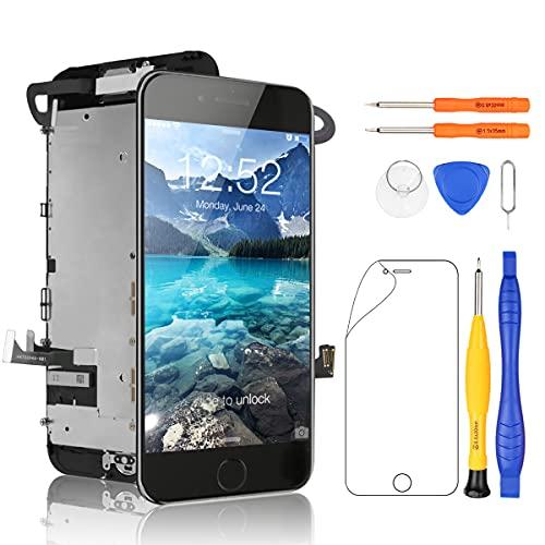 Yodoit iPhone7 フロントパネル 液晶パネル (Homeボタンが含まれる) 画面 修理交換用 取り付け簡単化 LCD パネル タッチ 修理パーツ デジタイザ 工具+画面保護フィルム付属 (黒 4.7インチ)