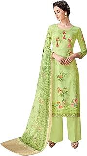 Apple Green Indian Digital Printed Straight Salwar Kameez Un-stitched Muslim Women dress fabric 7810