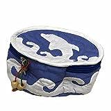 ハワイアンキルト Hawaiian Quilt イルカ ククイ付 ポーチ/バッグ ハワイアン雑貨 ブルー