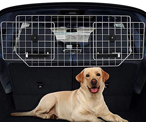 QPM Car Dog Guard, voll einstellbare Kopfstütze für Hundestiefel, Stahldraht-Haustier-Auto-Barrier-Netz, Hundeautotor/Grill/Zaun für Autostiefel/Fracht zum sicheren Transport Ihrer Hunde/Pakete