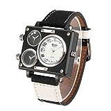 OULM Herren Business Watch Canvas Band Quarz Uhr DREI Zeitzone Sport Armbanduhr