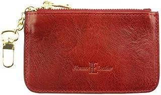 Pochette portamonete Rosso con catenella in pelle donna 12x6.5 cm - Made in Italy