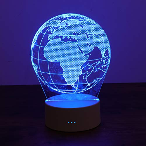 Uonlytech - Lámpara de mesa 3D LED acrílico, luz nocturna, cambia de color, interruptor táctil, lámpara de escritorio para el hogar, dormitorio, decoración, sin pilas (forma de bola)