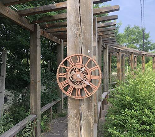 Gartenuhr Wetterfest Outdoor, Outdoor Uhr Garten 30cm Wanduhr Vintage Rotes Kupfer Outdoor Uhr Garten Wasserfest