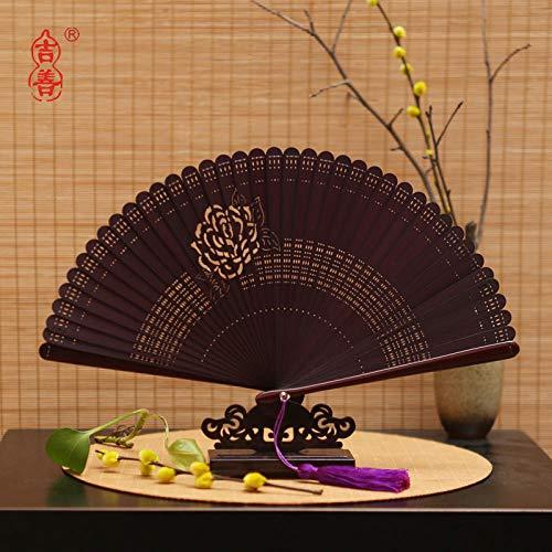 plzxy Chinesischen Stil voller Bambus Fan Carving Hohlfächer Alten Stil Damen Faltfächer Handwerk Fan Geschenk Fan@Promi Fan Wein Rot (18CM)