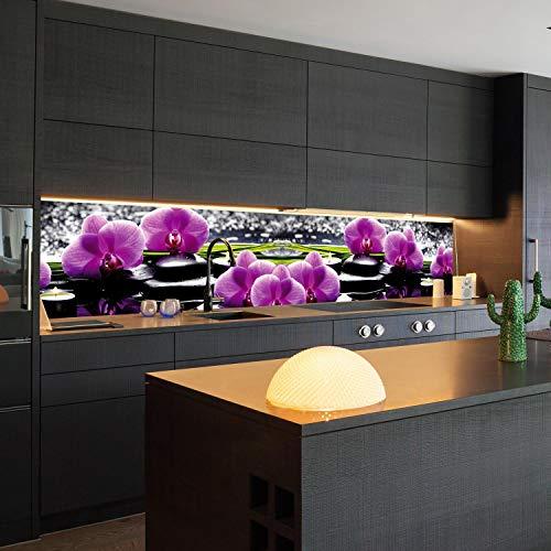 wandmotiv24 Küchenrückwand Orchidee Entspannung Wellness 260 x 50cm (B x H) - Hartschaum 3mm Nischenrückwand, Spritzschutz, Fliesenspiegel-Ersatz, Deko Küche Duft Steine Kerzen Wasser M1213