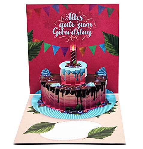 UNIQARD® Kartka urodzinowa 3D – Popup Kartka 3D – Niezwykłe kartki z życzeniami na urodziny – pomysł na prezent, idealna na bony i prezenty pieniężne – dla dzieci i dorosłych (Niemcy)