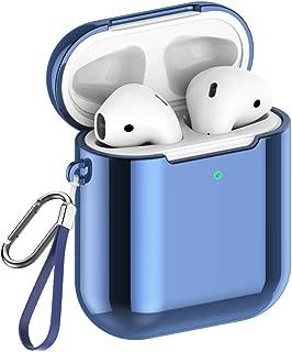 【改良版】AirPods ケース Apple AirPods 第1/2世代に適用【前のLEDライトが見える】 メッキTPU素材 ソフト エアーポッズ用ケース ストラップとカラビナ付き 全面保護カバー 脱着簡単 着装まま充電可能 ワイヤレス充電可能 耐衝撃 防塵 軽量小型 AirPods第1世代と第2世代に対応