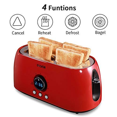 Toaster 4 Slice Long Slot, SACVON Retro Toasters