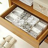 FJLOVE 4 Set Closet Underwear Organizer,Organizador De Armario Cajas De Almacenamiento De Ropa Interior para Sujetador,Calcetines,Corbatas y Bufandas 4+8 Compartments