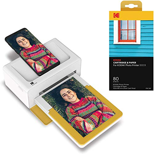 Kodak Dock Plus Instant Photo Printer – Bluetooth Portable Photo Printer Full Color Printing – Mobile App Compatible with iOS and Android – Convenient and Practical - 80 Sheet Bundle