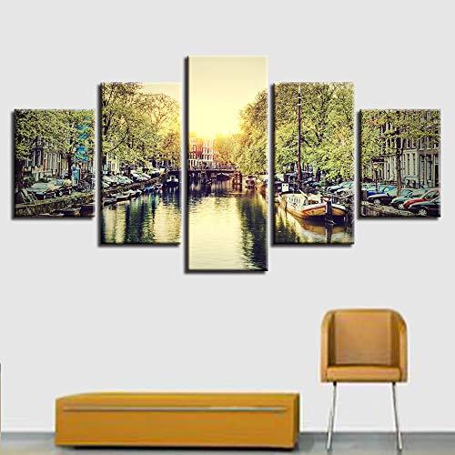 YCWYF Leinwand Bilder Home Decor Wandkunst5 Stücke Amsterdam Stadt Landschaftsbilder Modular HD Druckt Sommer Kanal Boot Poster