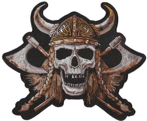 Viking Skull Head Totenkopf Wikinger Helm Biker Nordmann BACKPATCH Aufnäher
