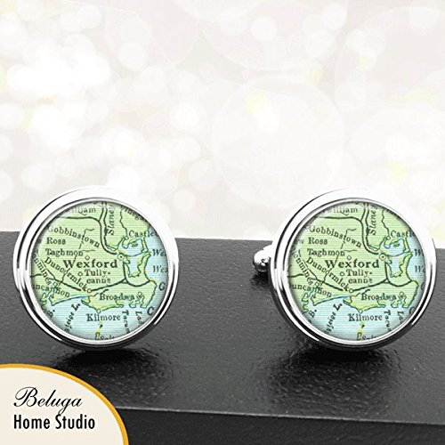 Map Cufflinks Wexford Ireland Map Cufflinks Handmade Cuff Links Antique Maps