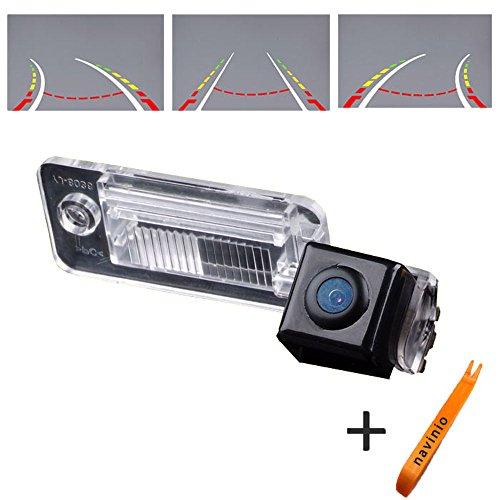 HDMEU 170° Affichage Direction de la Caméra Route Inversée Volant en Mouvement Vue Arrière Système de Surveillance Du Stationnement Caméra de Recul, Vision Nocturne CCD pour A3/A4/A6L/Q7/S5/S8/A7/A8L