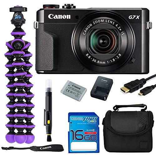 Canon PowerShot G7 X Mark II 20.1MP Digital Camera Bundle Kit with Spider Tripod and 16 GB Memory Card