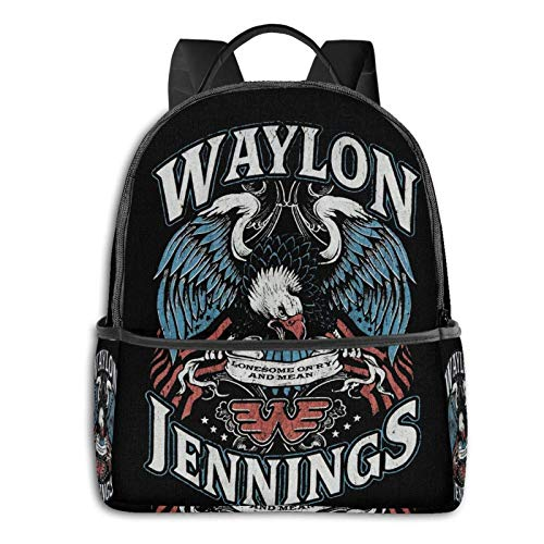 IUBBKI Mochila lateral negra Mochilas informales Backpacks Waylon Jennings Casual Backpacks, Student School Bags