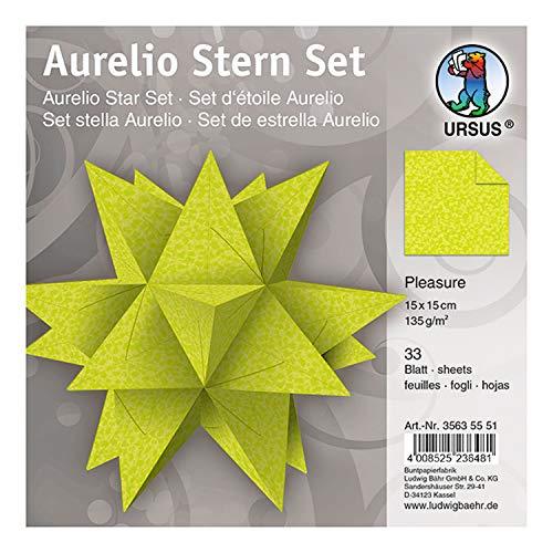 Ursus 35635551 - Faltblätter Aurelio Stern Pleasure, hellgrün, 33 Blatt, aus Papier 135 g/qm, ca. 15 x 15 cm, beidseitig bedruckt, ideal als Weihnachtsdeko