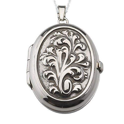 Alylosilver Collar Colgante Guardapelo de Plata De Ley para Mujer Oval con Hojas - Incluye Cadena de Plata de 45 cm. y Estuche para Regalo
