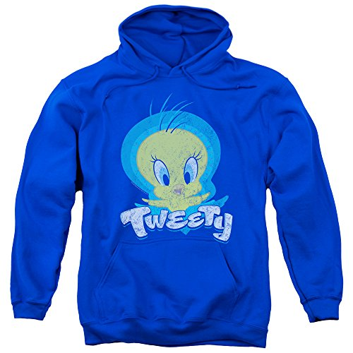 Looney Tunes Tweety Swirl Unisex Adult Pull-Over Hoodie for Men and Women, Large Royal Blue