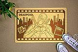 StarlingShop Deadpool Fußmatte aus Gummi Deadpool Türvorleger Teppich Fussmatte Rutschfester PVC Unterlage Schmutzfangmatte und Sauberlaufmatte Fußabstreifer für Außen und Innen Matte...