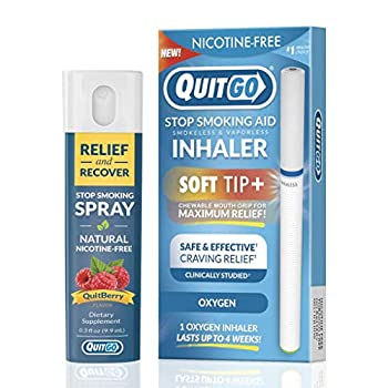 QuitGo Dual Support Quit Kit with Smoke-Free Soft Tip Inhaler Herbal Relief & Recover Spray to Help Stop Smoking  Oxygen Dual Support