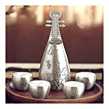 LULIJP Tetera Plateada tibetana Setling Silver Wine Set S999 Wine Jug Wine Cup Set Hecho a Mano Conveniente for Office Silver Regalo
