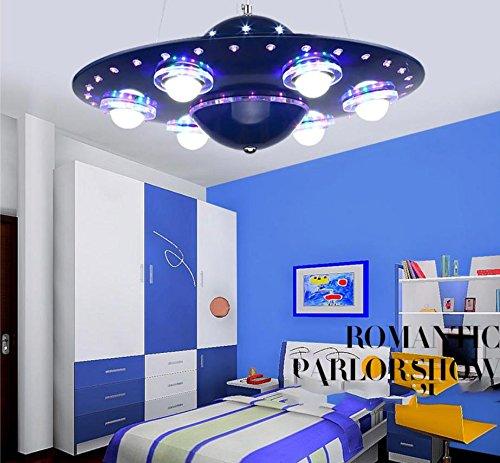 WEIXIA WXX Lampe-Schlafzimmer Kinder kreative Pendelleuchte UFO Fliegende Untertasse LED Das Wohnzimmer Studie Lampe blau