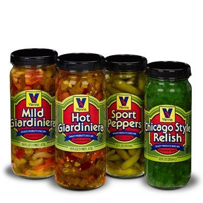 Vienna Condiment Variety 4-Pack (1 Jar Hot Giardiniera, 1 Jar Mild Giardiniera, 1 Jar Sport Peppers, 1 Jar Bright Green Relish)