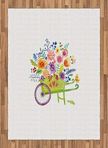 ABAKUHAUS bloemen Tapijt, kruiwagen Bloemen, vlak Geweven Vloerkleed voor Woonkamer, Slaapkamer, Eetkamer, 160 x 230 cm, Veelkleurig