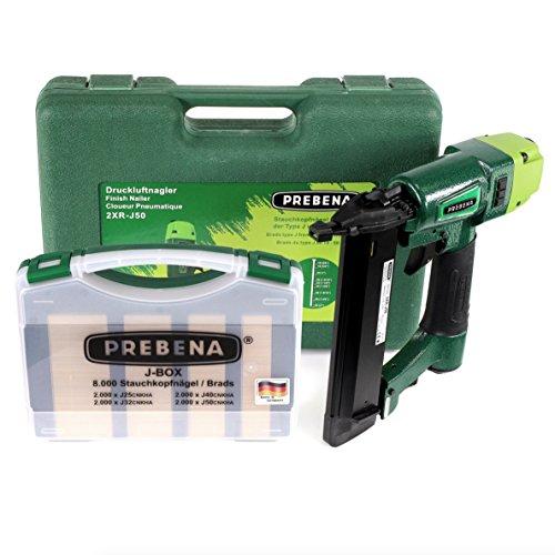 Prebena 2XR-J50 Luftdruck Druckluftnagler im Transportkoffer + J-BOX 8.000 Stauchkopfnägel/Brads