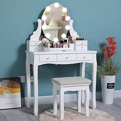 Iwell Vanity Table Set with Lighted Mirror, 10 LED Dimmable Bulbs, 7 Drawers, Makeup Dressing Vanity Table with Cushioned Stool, Dresser Desk for Bedroom, Gift for Mom, Women, Girl, White