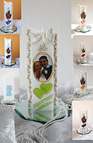 Hochzeitskerze-Traukerze-Brautkerze - Hochzeitsgeschenk - mit Foto-Herzen sehr Edel ink.Namen,Datum.