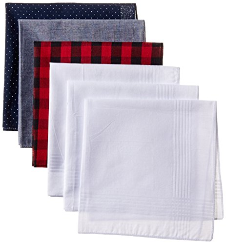 Levi's Men's 100% Cotton Hankerchiefs - Pack Of 6, blue/white, One Size