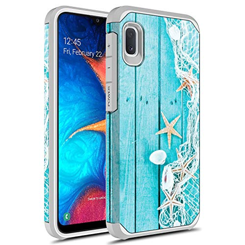 Samsung Galaxy A01 Case, Rosebono Slim Hybrid Dual Layer Shockproof Hard Cover Graphic Fashion Cute Colorful Silicone Skin Cover Armor Case for Samsung Galaxy A01 (Starfish)