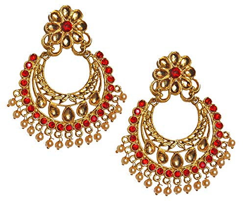 Pahal Bollywood Jadau Red Kundan Chandbali Big Gold Jhumka Earrings Indian Traditional Wedding Jewelry for Women