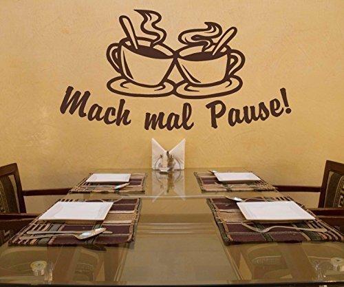 Wandtattoo Kaffee Mach mal Pause Coffee Spruch Cafe Aufkleber Küche Wohnzimmer Esszimmer Tasse 1D344, Farbe:DunkelRot glanz;Breite vom Motiv:120cm