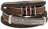 styleBREAKER Vintage Wickelarmband mit Strass, Gliederkette und Magnetverschluss, 3-Reihig, Armband, Damen 05040024, Farbe:Dunkelbraun
