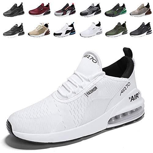 populalar Laufschuhe Herren Damen Turnschuhe Sportschuhe Straßenlaufschuhe Sneaker Atmungsaktiv Trainer für Running Fitness Gym Outdoor Leichte 9Weiß 44EU