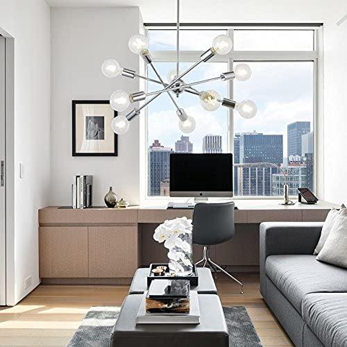 BONLICHT Sputnik lámpara de araña cromo 10 luces colgante iluminación moderna Sputnik luz vintage lámpara de techo UL listado