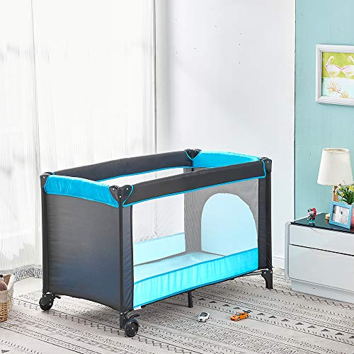 Infant Travel Cot 49'x26', Portable Baby Crib Bed and Playpen with Carrying Bag, Foldable Travel Bed from Birth to 3Y with Wheels Folding Mattress, Black-Blue