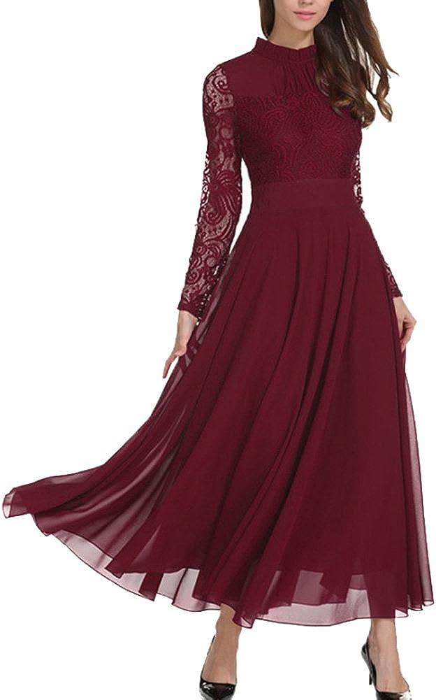 Aox Women Elegant outlet Long Sleeve Cheap SALE Start Floral Ma Line Lace Chiffon A
