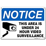 24 Hour Video Surveillance Sign, Security Camera Sign Warning for Home or Business CCTV Monitoring System, Outdoor Rust-Free Metal, 10' x 14' - A82-131AL