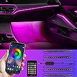 Favoto Striscia LED Auto con App, 4 Strisce 48 LED Multicolore Impermeabili, Luci Led Interne per Auto/Desktop/Televisore, Kit di illuminazione Controllato da APP/Remoto/Guardo di Controllo, DC 5V