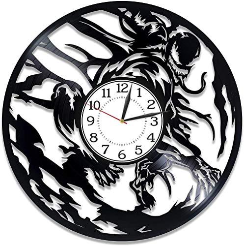 Película Venom Vinyl Clock Marvel Decoración Cómics para habitación de niños Campana Hecha a Mano Tom Hardy Disco de Vinilo Reloj de Pared Venom Ideas de Regalos de cumpleaños para Hombres