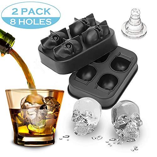 2 StüCk 3D Skull Flexible Silikonschale, Macht 4/6 RiesenschäDel FüR Whisky Cocktails Und Wodka Und Saft GeträNke, Schwarz