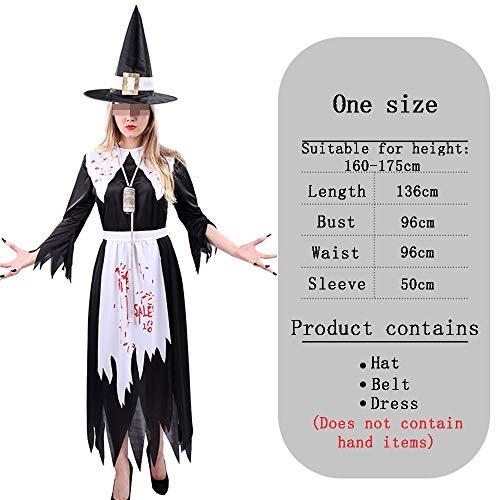 HALLOWEEN-COSTUMES Bloedige Heks, Onregelmatige Hem Lange Mouw Halverwege Jurk Cosplay Masquerade Horror Fancy Jurk Voor Volwassenen