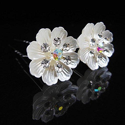 Power of Parfumes Lot de 6 Utsunomiya® Particulière superbe glanzende Blanc Fleurs Coquillage perle Cristaux, épingles à cheveux haarpin spirales, che